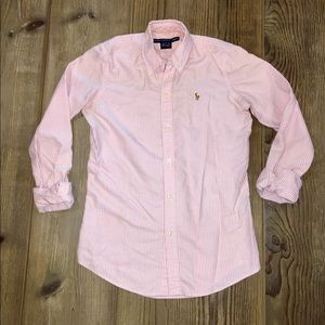 Ralph Lauren Sport Slim Fit Oxford - Pink & White